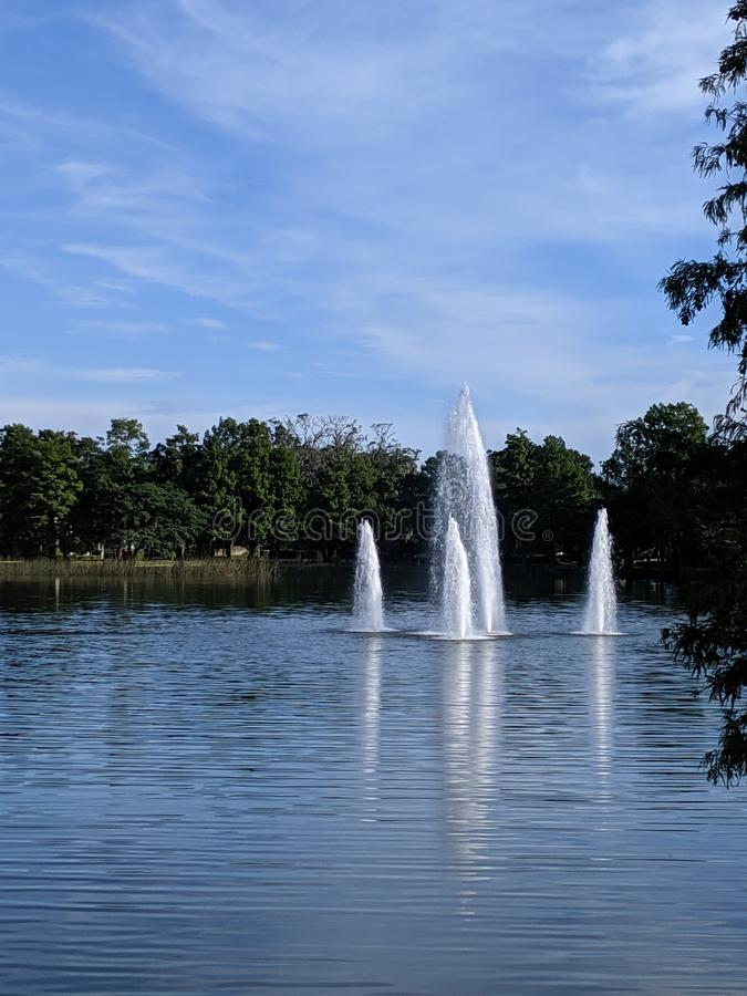 View of the fountain in the middle of the lake royalty free stock photos
