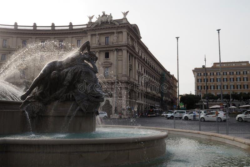Fountain of the Naiads in Piazza della Repubblica in Rome, Italy. View of a Fountain of the Naiads in Piazza della Repubblica in Rome, Italy. The semi-circular royalty free stock image