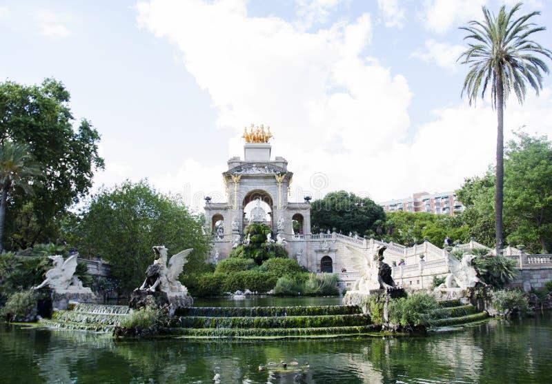 A view of Fountain of Parc de la Ciutadella, in Barcelona, Spain. The Parc de la Ciutadella is a park on the. Northeastern edge of Ciutat Vella, Barcelona royalty free stock photo