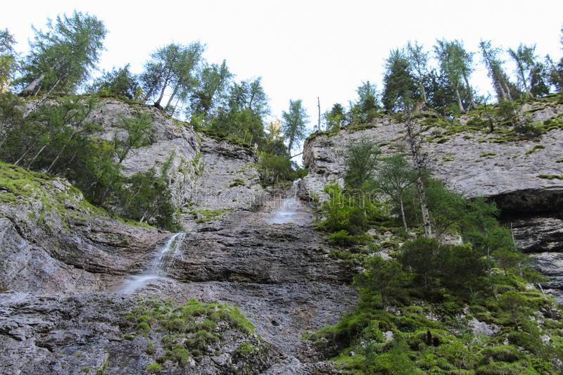 Franzei waterfall in Serrai di Sottoguda canyon, Veneto, Italy. royalty free stock photos