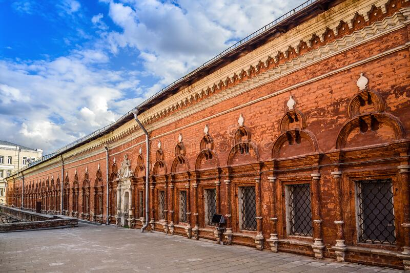 View of the fraternal cells and a fragment of the interior of the courtyard of the High Petrovsky Monastery. Moscow, Russia. stock photography