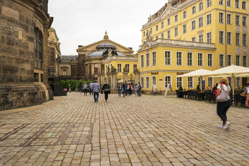 View from Frauenkirche towards An der Frauenkirche Street with Academy of Fine Arts in Dresden, Germany. Dresden, Germany - August 15, 2019: View from stock photo