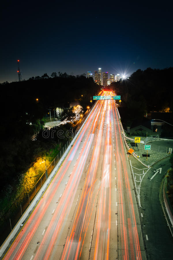 View of the 110 Freeway and downtown Los Angeles Skyline stock photography