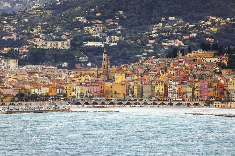 View of the French coast. Of the city of Menton royalty free stock image