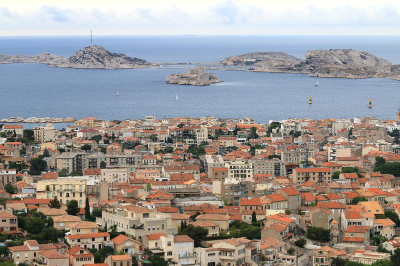 View at french Mediterranean from Notre Dame de la Garde, Marseille royalty free stock image