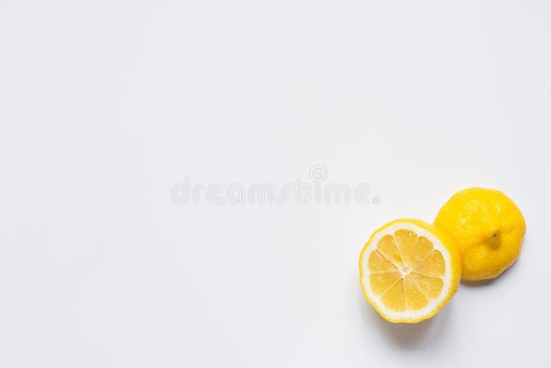 Top view of fresh cut lemon royalty free stock photo