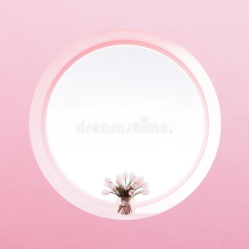Free View From Round Window, Flowers, Pastel Pearl Pink Wall Royalty Free Stock Photos - 113790028