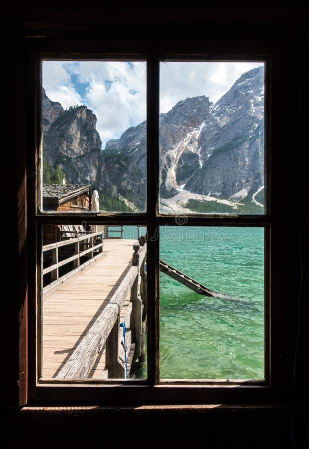 Free View From The Window Of Lake Braies With Vivid Colors In Spring With Mountains In The Background Royalty Free Stock Image - 159045516