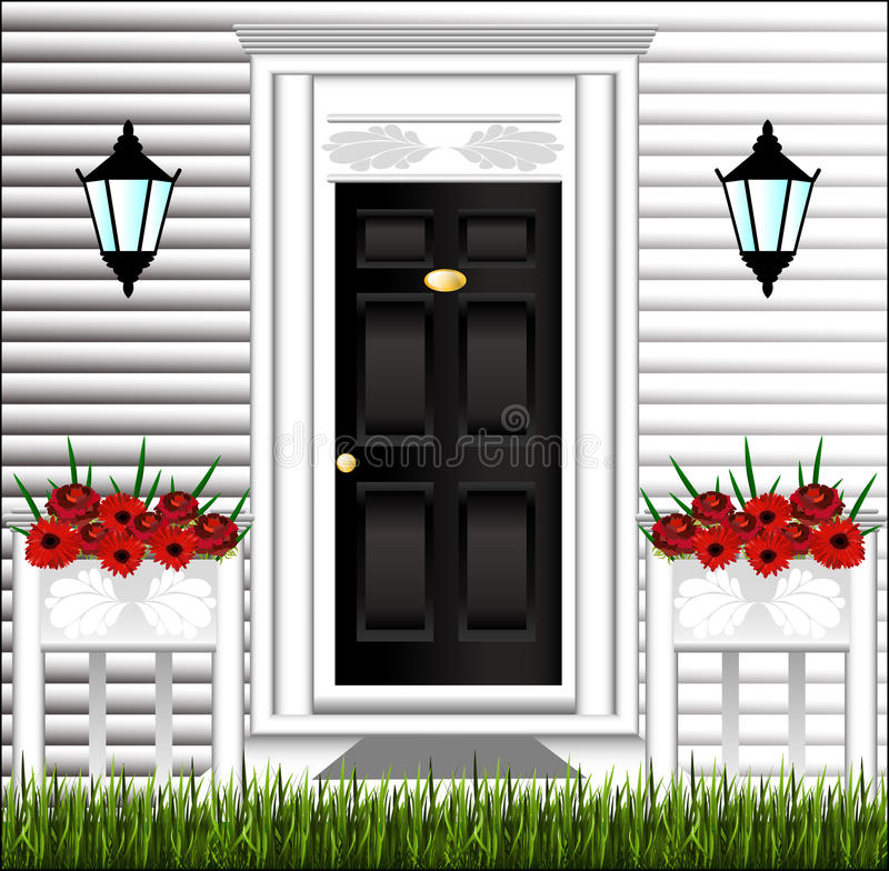 View of the front door, a cute flower pot royalty free illustration