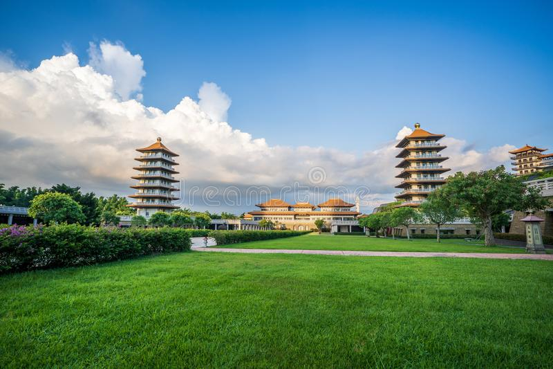 View of the Front Hall and eight pagodas at the Fo Guang Shan Buddha temple. Beautiful and peaceful scenario. stock photos