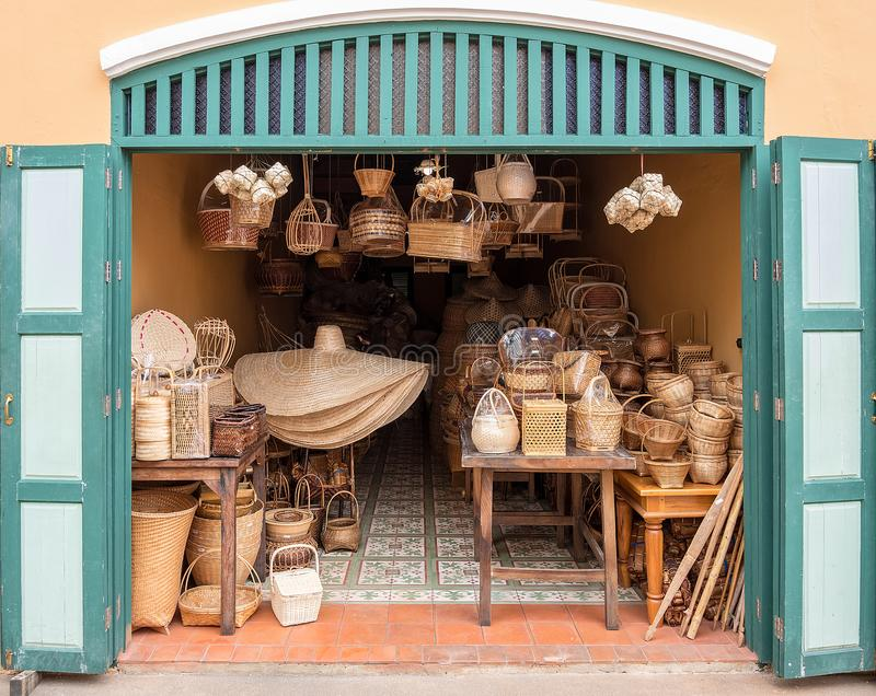 A view in front of an old shop in Thailand. It has all rattan pr. Oducts in Thai culture stock photo