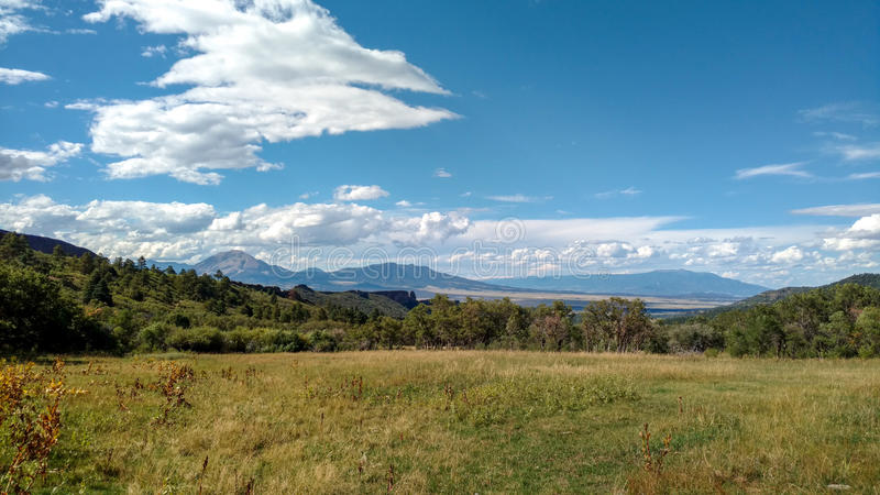 View of front range from La Veta, CO royalty free stock photography