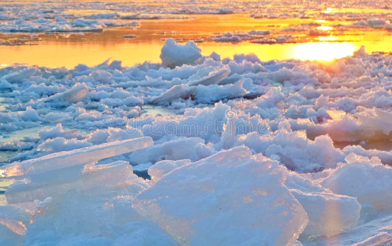 View of Frozen Lake during Sunset stock photos