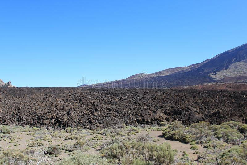 View of the frozen lava of the volcano. On the island of Tenerife stock photography