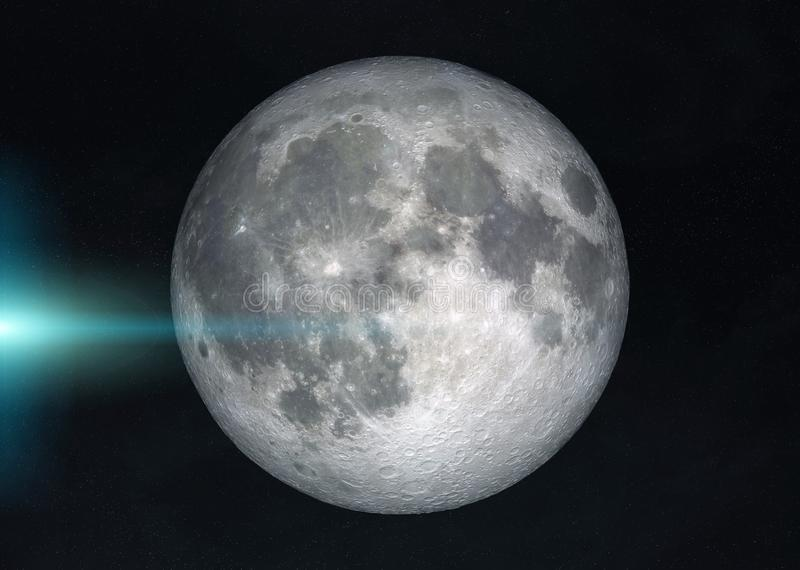 View of a full moon in space with stars background 3D rendering elements of this image furnished by NASA. View of a full moon in space with stars in the royalty free illustration