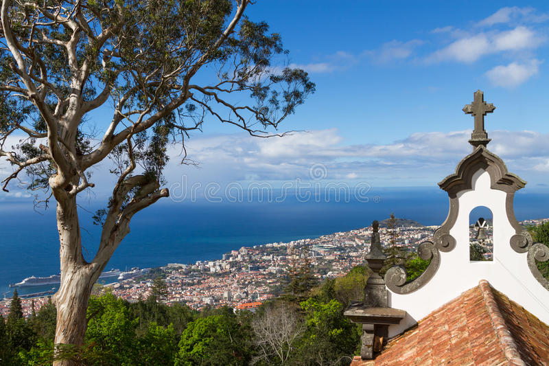 View of Funchal from the Monte. Madeira, Portugal. View of Funchal from the Monte. Chapel de la quinta do Monte in foreground, Madeira, Portugal stock images