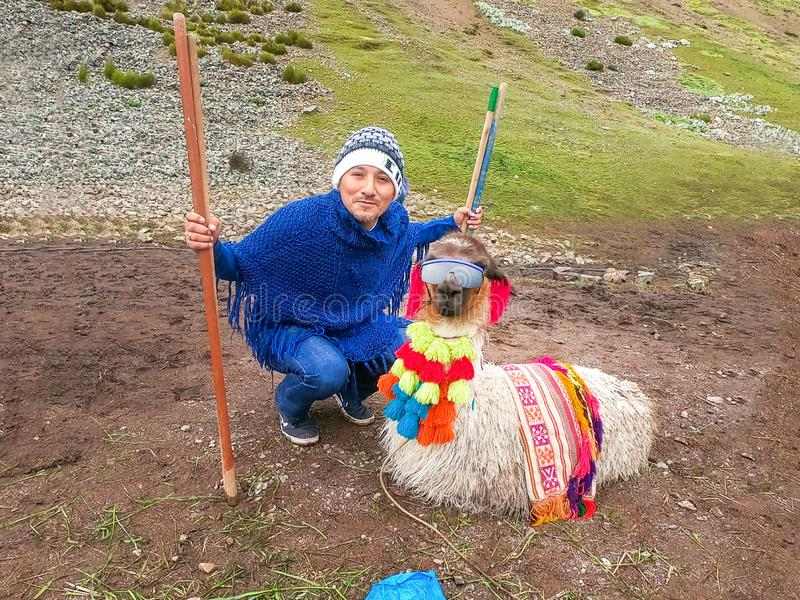 View of a funny alpaca with sunglasses and a tourist around Rainbow Mountain, Vinicunca, Cusco stock photos