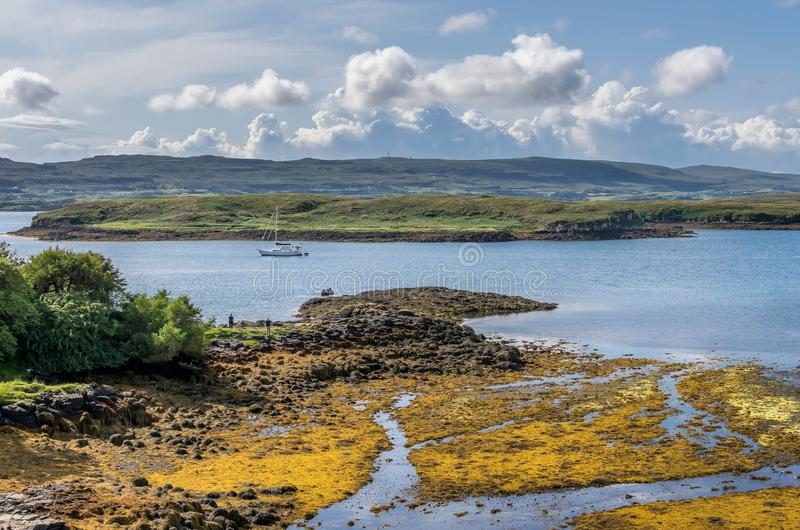 A view of Gairbh Eilein.island with a yacht as seen from dunvegan castle. Streams running into the sea stock photos