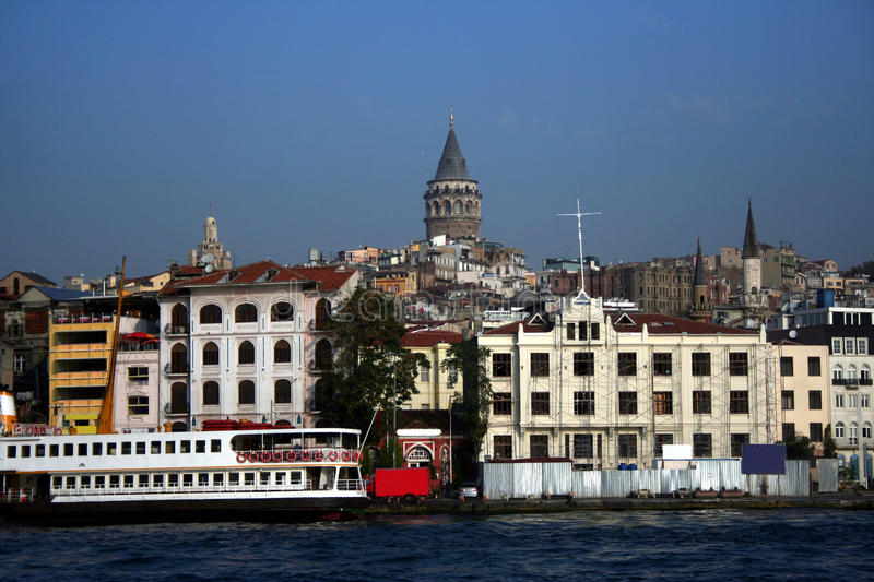 A view of Galata. As seem from the sea. Galata is a most historical place in Ä°stanbul royalty free stock images