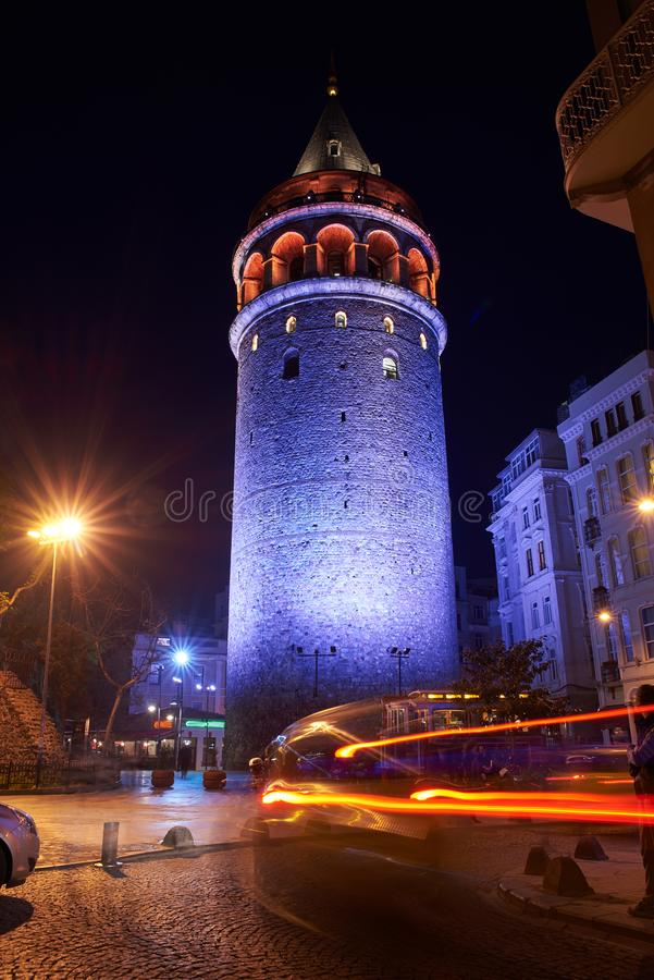View of the Galata Tower at night stock images