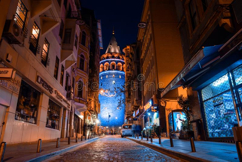 View of the Galata Tower at night royalty free stock photo