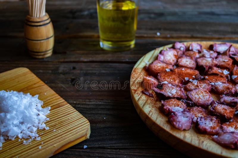 View of Galician octopus dish stock image