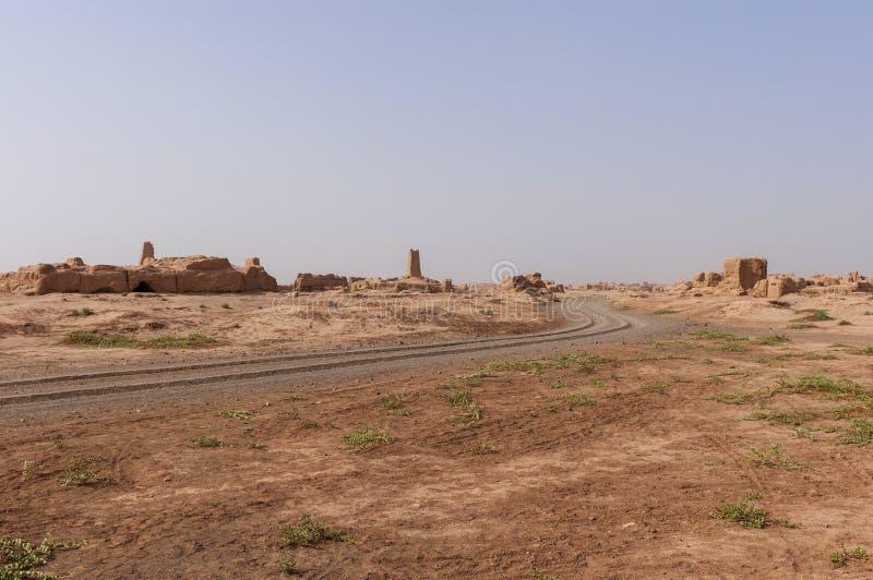 View of the Gaochang ruins near the city of Turpan, Xinjiang. China stock photo