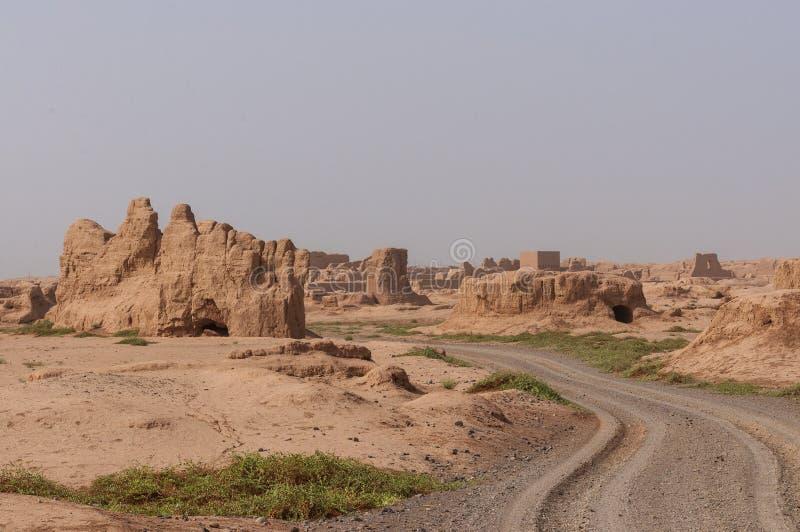View of the Gaochang ruins near the city of Turpan, Xinjiang. China stock images