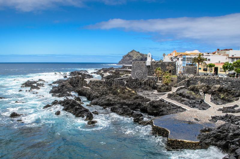 A view of Garachico pools, Garachico , Tenerife , Canary islands, Spain stock image