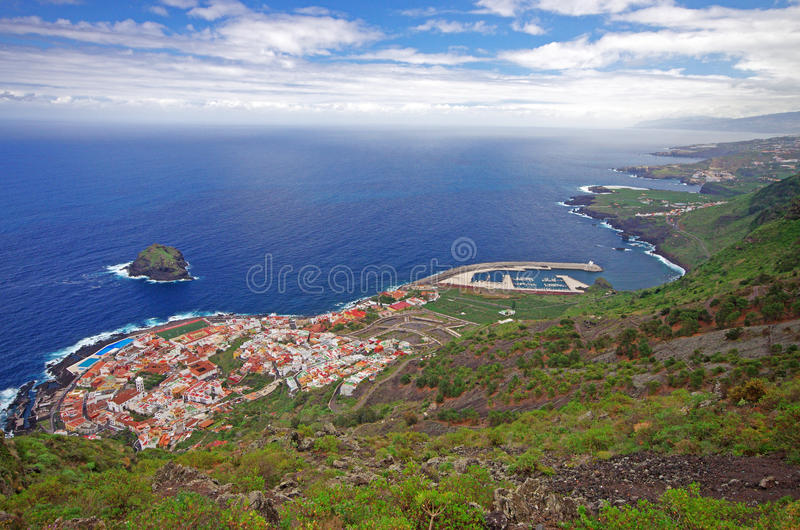 View of Garachico town and blue ocean, Tenerife, Canary islands, Spain royalty free stock images