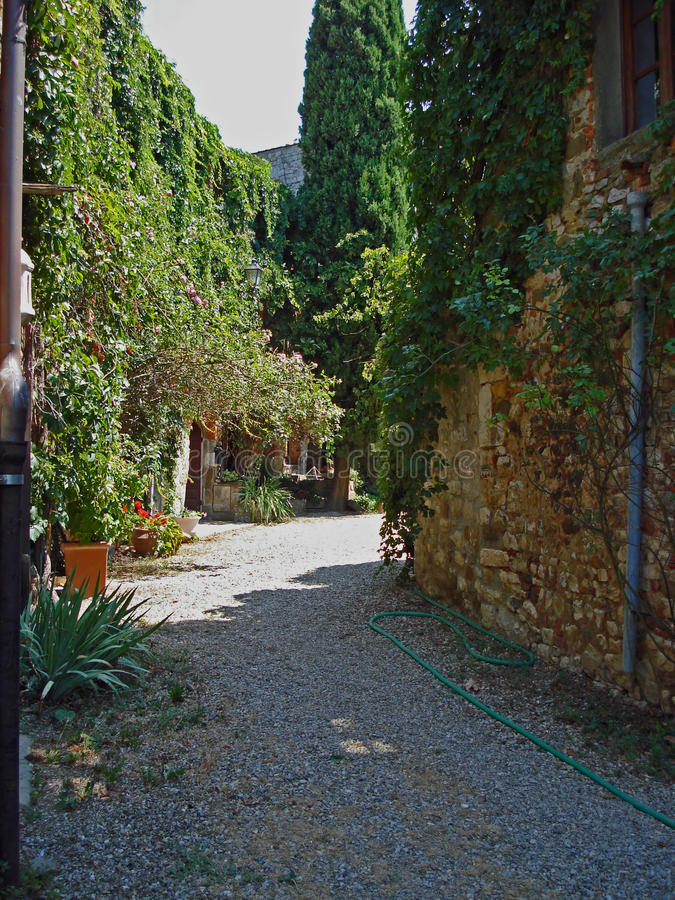 A view of a garden in the village Civitella in Italy. stock photos