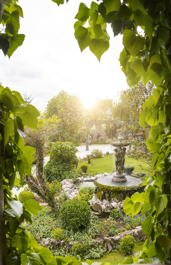 View of the garden from the window. royalty free stock photos