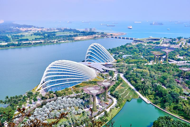 View of the Gardens by the Bay and the Flower Dome seen from the heights of a hotel. A view of the Gardens by the Bay and the Flower Dome seen from the heights stock photos