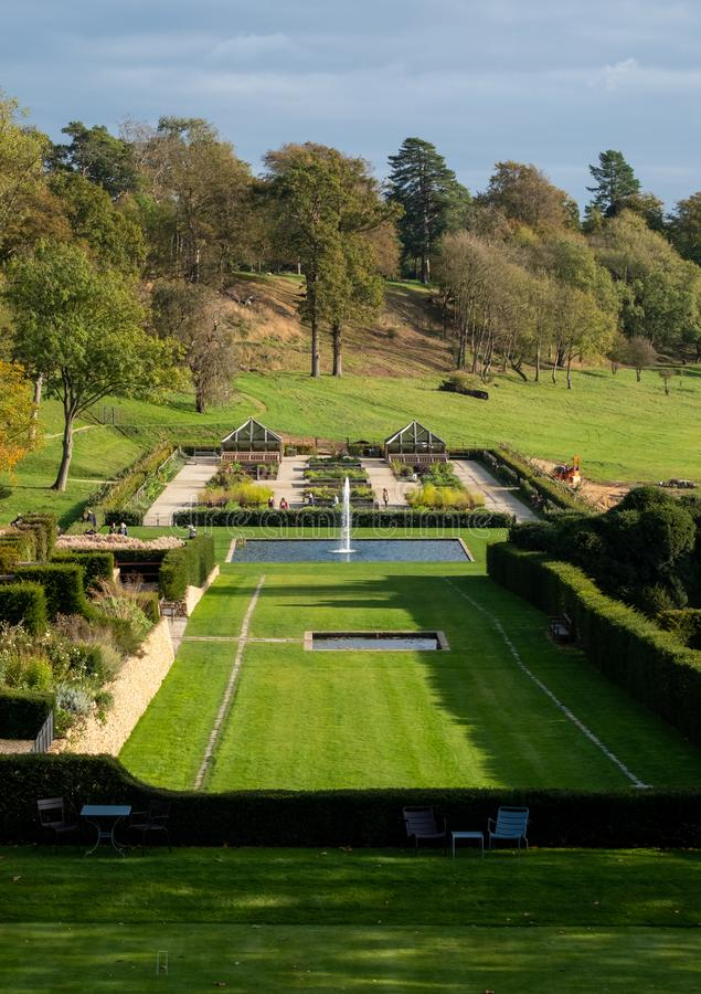 View of the gardens and the wider Somerset landscape from boutique hotel The Newt in Somerset, UK. Croquet lawn in the foreground royalty free stock image