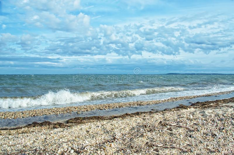 View of Gardiners Bay From Orient Beach State Park, Long Island, NY stock photo