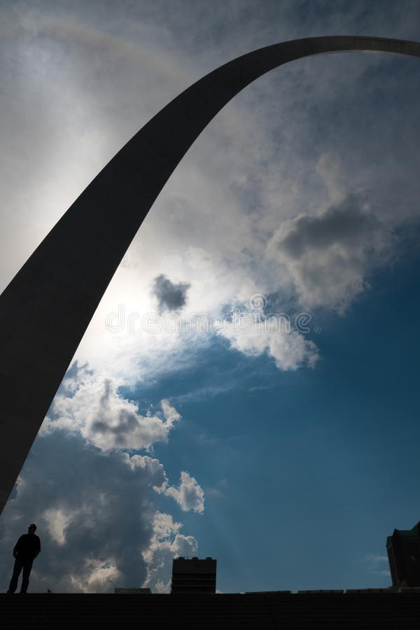 A Silhouette perspective of the gate way arch in st louis misouri. A view of the Gateway arch in ST. Louis Misouri. The arch was designed to represent the royalty free stock photography