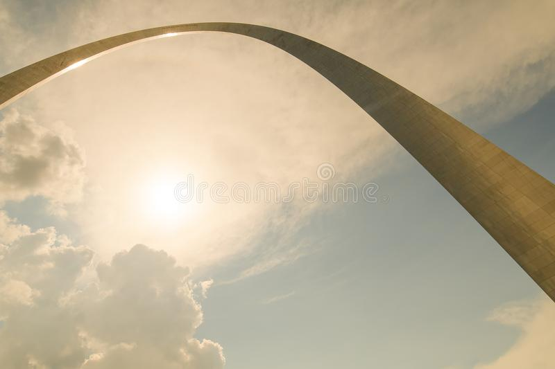 A different unusual perspective of the gate way arch in st louis misouri. A view of the Gateway arch in ST. Louis Misouri. The arch was designed to represent the royalty free stock photos