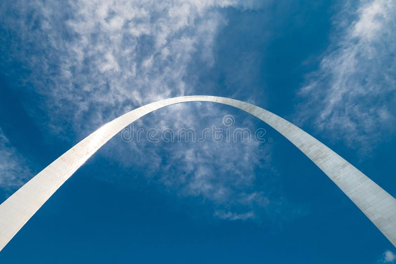 A different perspective of the gate way arch in st louis missouri. A view of the Gateway arch in ST. Louis Missouri. The arch was designed to represent the royalty free stock image