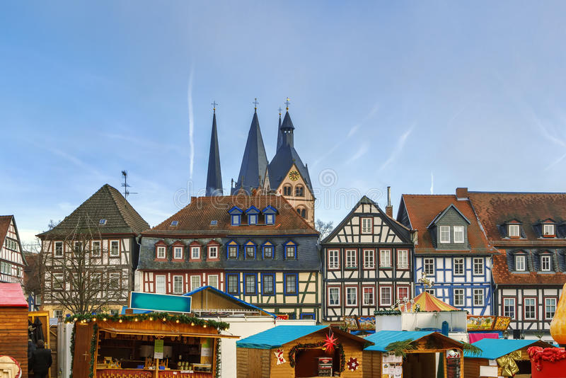 View of Gelnhausen, Germany. View of historic half-timbered houses with Christmas market in Gelnhausen, Germany stock photos