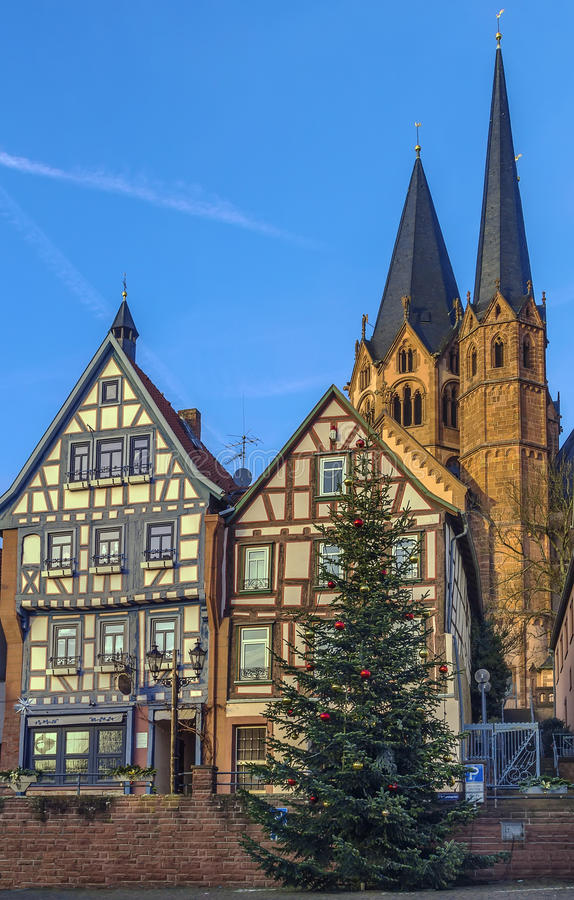 View of Gelnhausen, Germany. View of historic half-timbered houses and st. Mary church in Gelnhausen, Germany royalty free stock photos