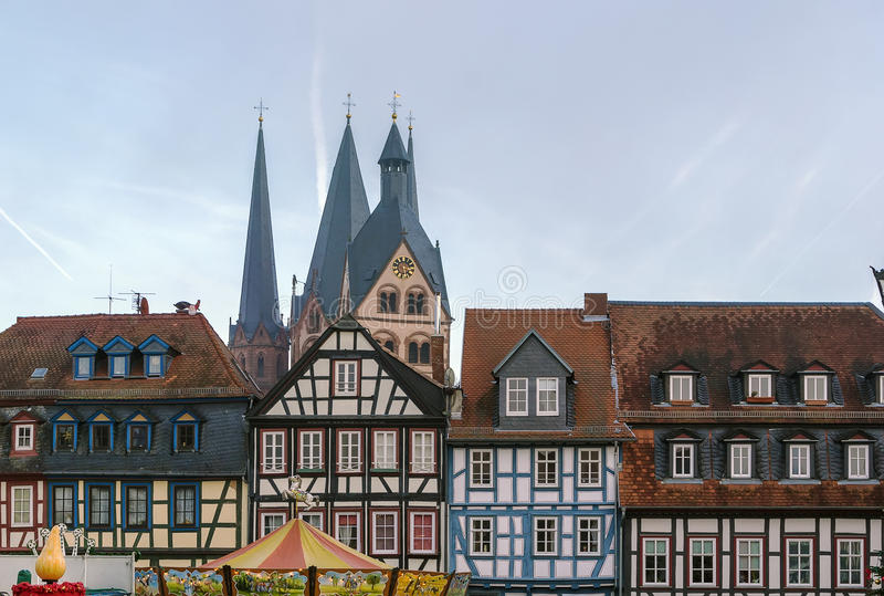 View of Gelnhausen, Germany. View of historic half-timbered houses and st. Mary church in Gelnhausen, Germany stock photography