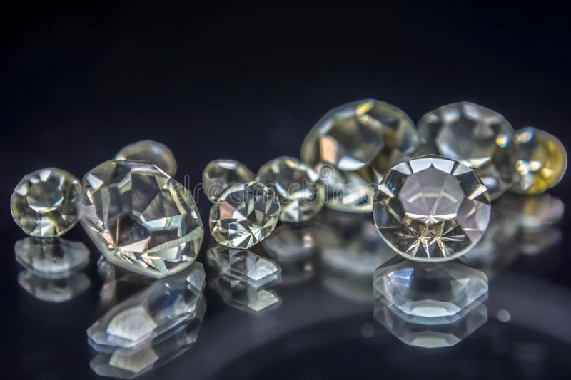 View of gemstones, several diamonds with different sizes stock photo