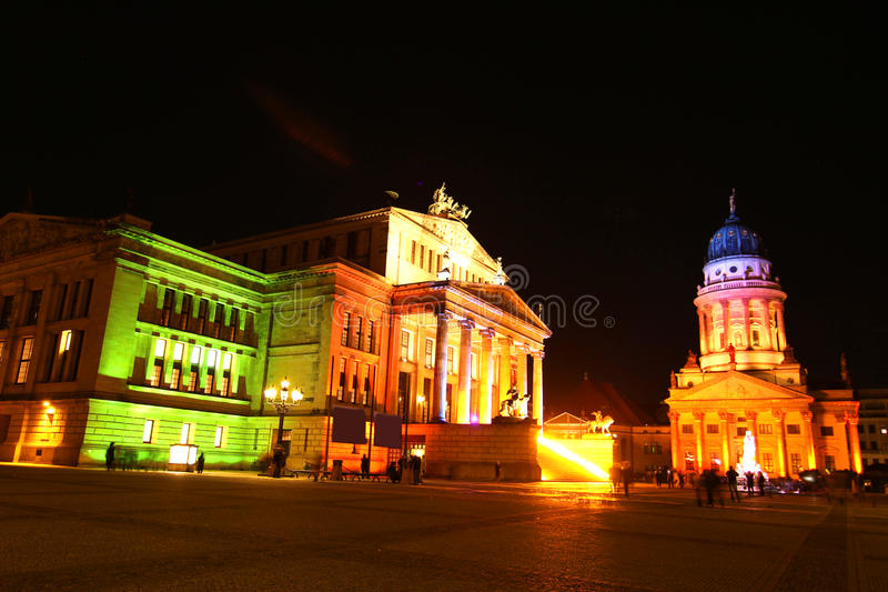 View on the Gendarmenmarkt. In Germany. The Konzerthaus (Concert hall) on the left side and the French dome on the right side royalty free stock image