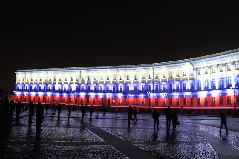 View of the General Staff Arch during the celebration of the city holiday Festival of Lights. View of the General Staff Arch in Saint-Petersburg during the stock image