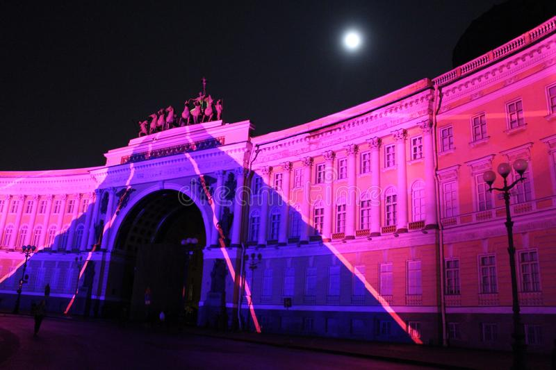 View of the General Staff Arch during the celebration of the city holiday Festival of Lights. View of the General Staff Arch in Saint-Petersburg during the stock photo