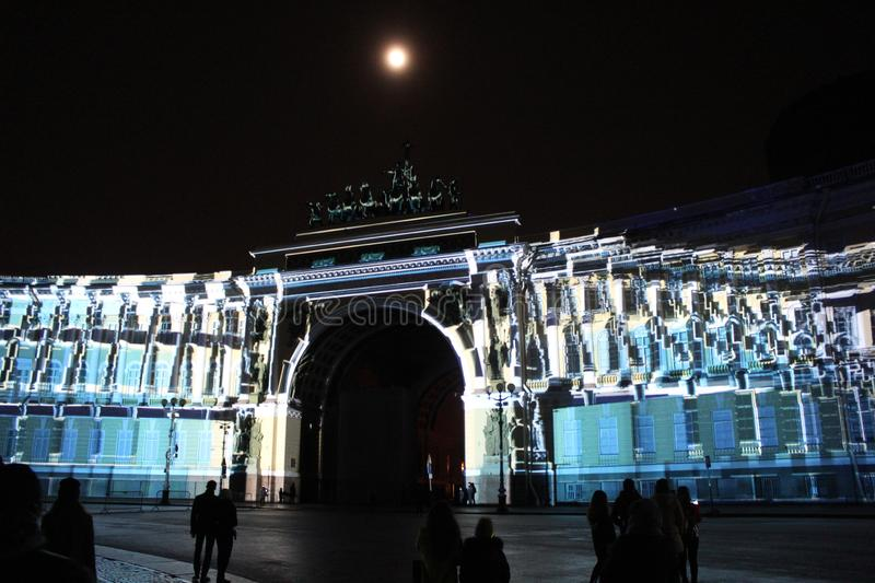 View of the General Staff Arch during the celebration of the city holiday Festival of Lights. View of the General Staff Arch in Saint-Petersburg during the stock images