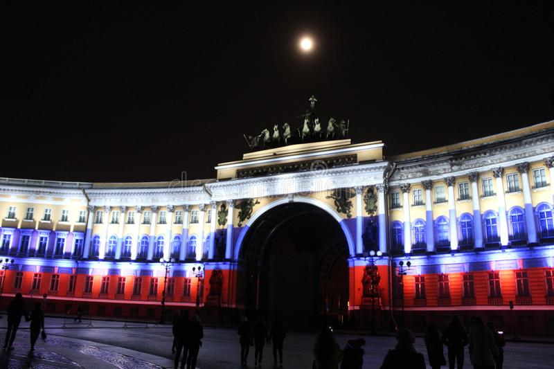 View of the General Staff Arch during the celebration of the city holiday Festival of Lights. View of the General Staff Arch in Saint-Petersburg during the royalty free stock photos