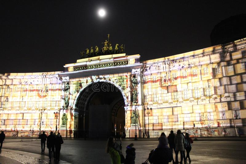 View of the General Staff Arch during the celebration of the city holiday Festival of Light. View of the General Staff Arch in Saint-Petersburg during the royalty free stock images