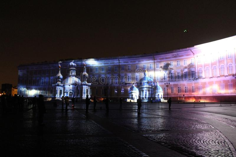 View of the General Staff Arch during the celebration of the city holiday Festival of Light. View of the General Staff Arch in Saint-Petersburg during the stock photos