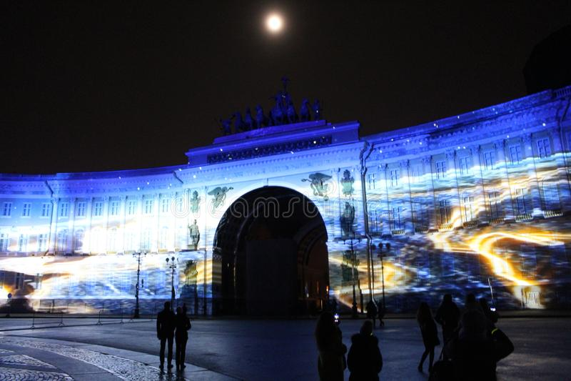 View of the General Staff Arch during the celebration of the city holiday Festival of Lights. View of the General Staff Arch in Saint-Petersburg during the stock photography